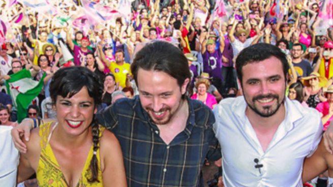 Teresa Rodríguez, Pablo Iglesias y Alberto Garzón.