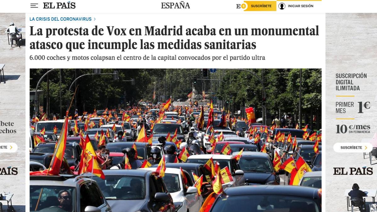 Así ha mostrado 'El País' la manifestación convocada por Vox.