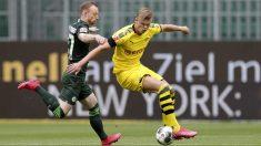 Haaland, en un partido ante el Wolfsburgo. (Getty)