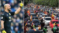Pepe Reina y una imagen de las protestas.