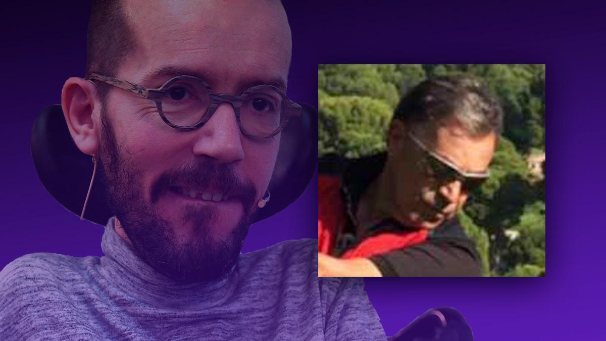 El portavoz de Podemos, Pablo Echenique, y su padre, el empresario argentino Enrique Fermín Echenique Grande, jugando al golf.