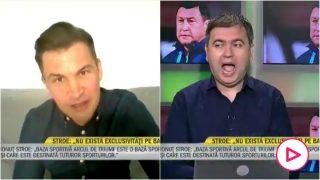 El ministro rumano de Deportes y el presentador.
