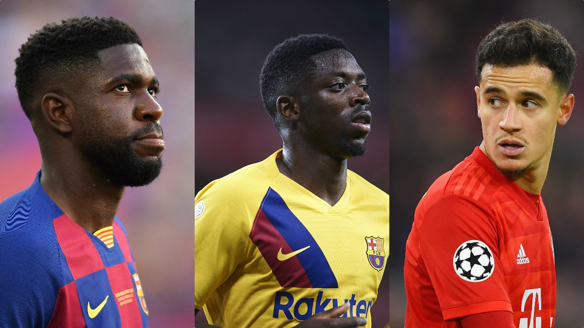 Samuel Umtiti, Ousmane Dembélé y Philippe Coutinho.