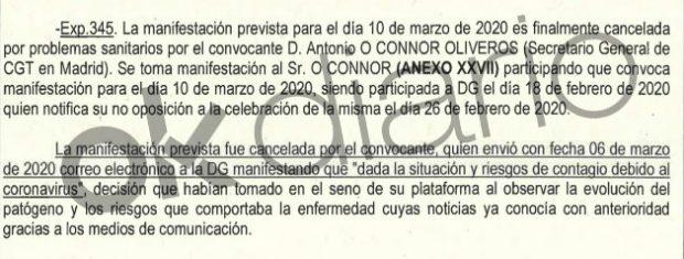 Hasta la podemita CGT comunicó a Franco el 6-M que renunciaba a manifestarse por miedo al contagio