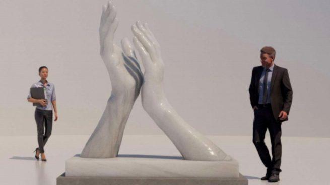Estatua de homenaje a los sanitarios y a las víctimas del coronavirus en Andalucía.