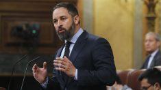 El líder de Vox, Santiago Abascal, en el Pleno del Congreso. (Foto: Europa Press)