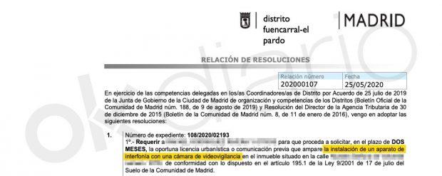 Expediente del Ayuntamiento de Madrid a Echenique por colocar una cámara de seguridad sin licencia.