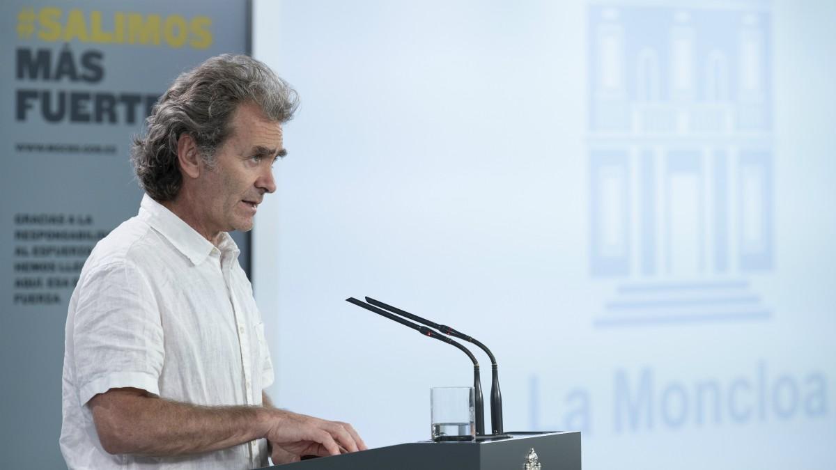 Fernando Simón en rueda de prensa en el Palacio de la Moncloa.