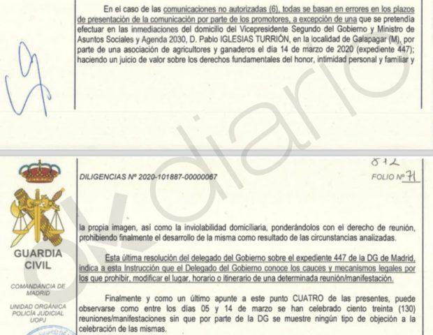 La Guardia Civil ve un «juicio de valor» que Franco vetara el 4-M una protesta ante el casoplón de Iglesias