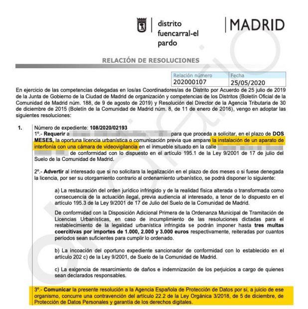 Expediente a Echenique nº108/2020/02193 tras poner una cámara ilegal en su casa de Fuencarral.