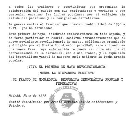 El padre de Iglesias repartió propaganda para el 1 de mayo de 1973 donde el FRAP mató a dos policías