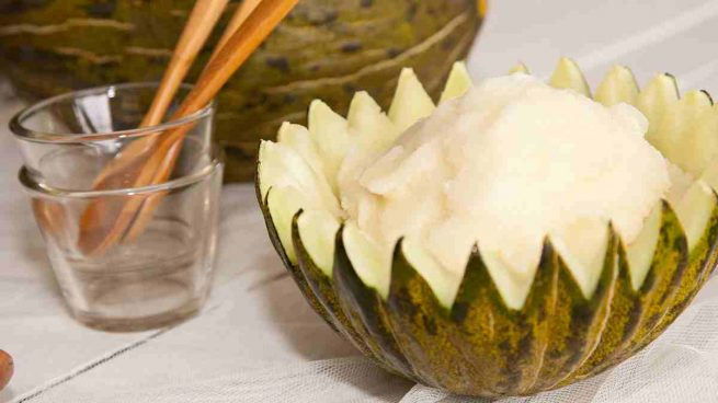 Sorbete de melón a la menta