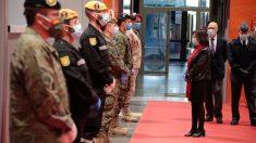 La ministra de Defensa, Margarita Robles, durante el acto oficial de reconocimiento a los militares por su labor durante la crisis del coronavirus.