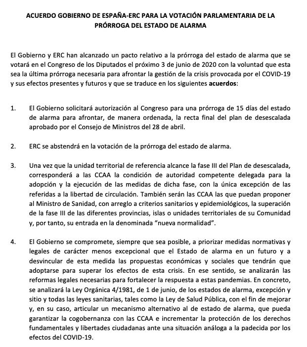 Sánchez cede ante los separatistas: pacta con ERC la sexta prórroga del estado de alarma