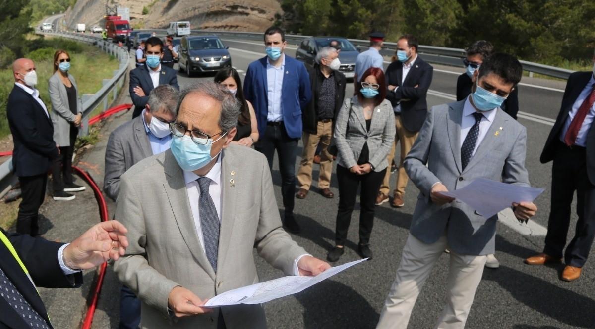 El presidente de la Generalitat, Quim Torra, visitando obras de implantación de fibra óptica entre Súria y Solsona