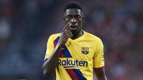Ousmane Dembélé durante un partido con el Barça. (Getty)