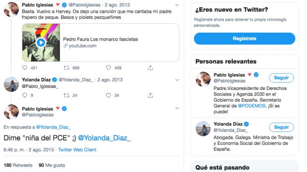 Iglesias confesó a la «niña del PCE» Yolanda Díaz que su padre fue miembro de la banda terrorista FRAP