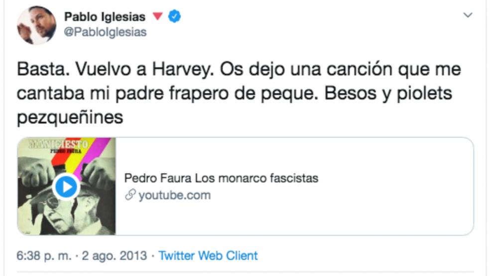 Pablo Iglesias ya presumía en 2012 de que su padre había sido miembro del FRAP.