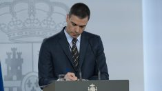 El presidente del Gobierno, Pedro Sánchez, durante la rueda de prensa telemática del pasado sábado 23 de mayo – Moncloa