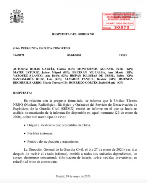 El Gobierno admite que la unidad biológica de la Guardia Civil le alertó del peligro del virus en enero