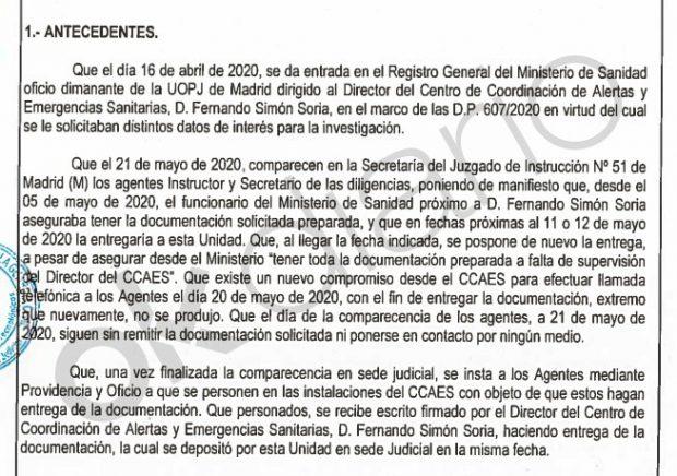 La juez del 8-M tuvo que enviar a la Guardia Civil al despacho de Simón para que entregase los informes