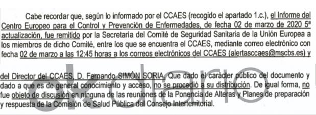 La UE envió a Simón el 2 de marzo un informe en el que desaconsejaba los actos masivos