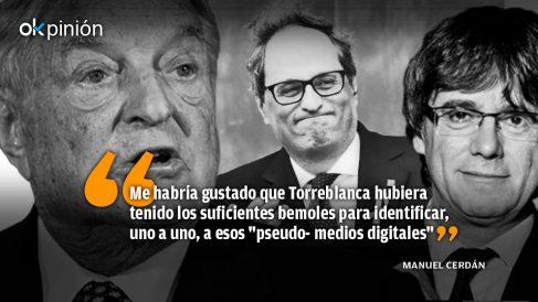 George Soros, Quim Torra y Carles Puigdemont.