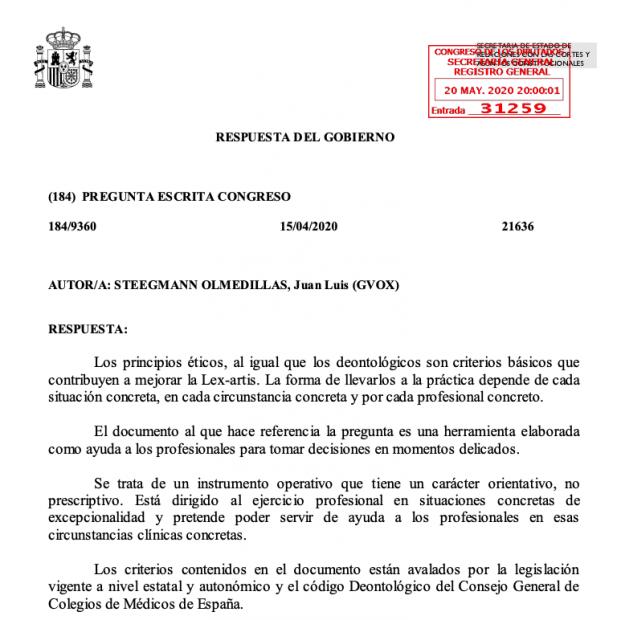 El Gobierno culpa a los médicos del triaje: dice que sus protocolos de selección eran sólo «orientativos»