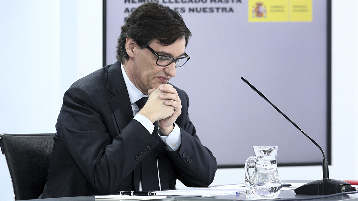 Salvador Illa durante una comparecencia.