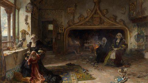'La reina doña Juana la Loca, recluida en Tordesillas con su hija, la infanta doña Catalina', Francisco Pradilla @MuseodelPrado