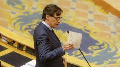 El ministro de Sanidad, Salvador Illa, durante su intervención a la Sesión de Control al Gobierno en el Senado, en Madrid (España) a 5 de mayo de 2020. (Ricardo Rubio – Europa Press)