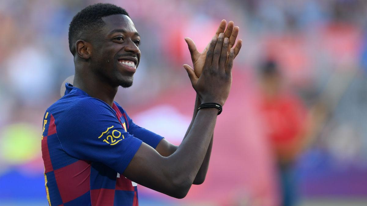 Dembélé, antes de un partido con el Barcelona. (AFP)