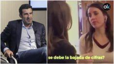 Luis Figo e Irene Montero en el famoso vídeo.