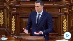 El presidente del Gobierno, Pedro Sánchez, respondiendo a PP y Vox en el Congreso de los Diputados.