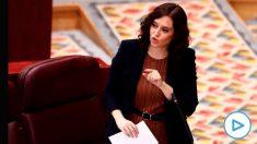 Isabel Díaz Ayuso este jueves en la Asamblea de Madrid. (Foto: EP)