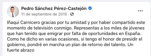 Sánchez coloca a su amigo del alma Iñaqui Carnicero en un alto cargo con 90.000 € de sueldo como prometió