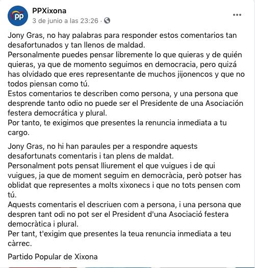 El presidente de los Moros y Cristianos de Jijona llama «basura» y «escoria» a los votantes de PP y Vox