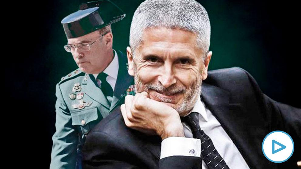 El ministro del Interior, Fernando Grande-Marlaska, y el coronel de la Guardia Civil Diego Pérez de los Cobos.