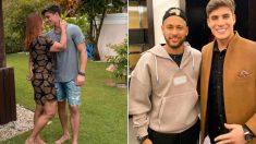 Tiago Ramos, junto a Nadine Gonçalves y Neymar en dos fotos diferentes.