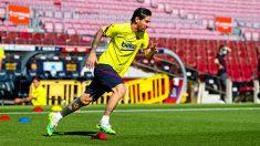 Leo Messi entrenando en el Camp Nou. (fcbarcelona.cat)