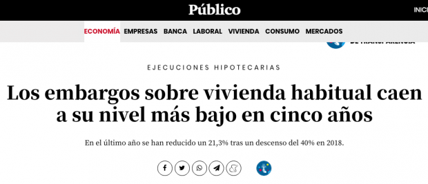 Los desahucios se disparan un 20% con Sánchez e Iglesias pero ahora se llaman «embargos de vivienda habitual»