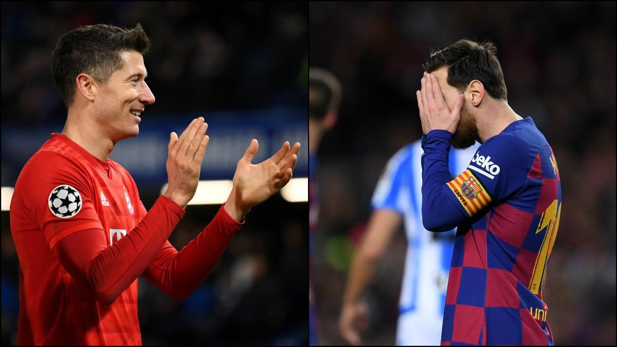 Robert Lewandowski y Leo Messi. (Getty)