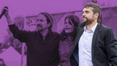 Jesús Santos junto a Pablo Iglesias e Isa Serra. (Foto/ EP)