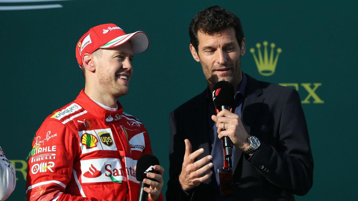 Mark Webber entrevista a Sebastian Vettel. (Getty)