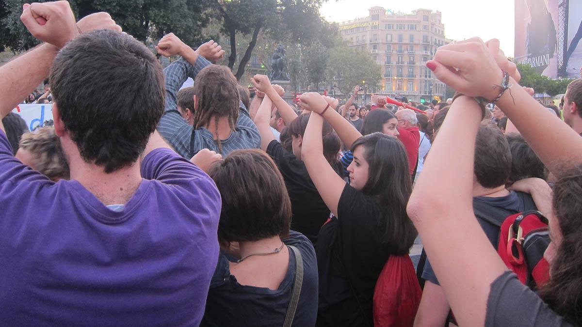 Manifestación en la Plaza de Cataluña contra las detenciones en el desalojo de la acampada del 15M. (Ep)