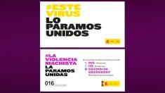 Campaña de Sanidad (arriba) y la de Igualdad (abajo).
