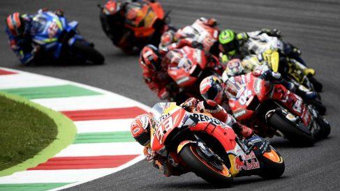 Marc Márquez liderando el Gran Premio de Italia de MotoGP en 2019. (AFP)