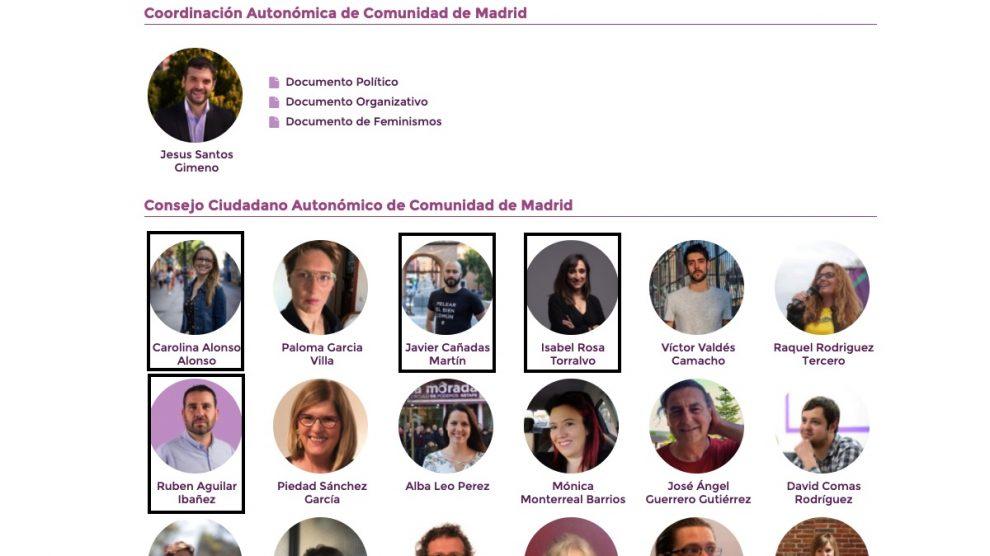 Miembros de la candidatura de Jesús Santos que integran el Comité Técnico de las primarias.