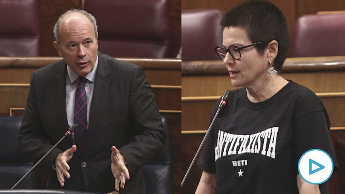 El ministro de Justicia, Juan Carlos Campo, y la diputada de ERC María Dantas