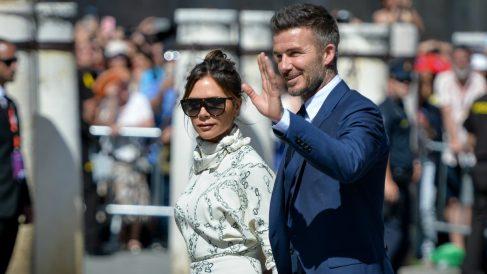 David y Victoria Beckham en la boda de Sergio Ramos. (Getty)
